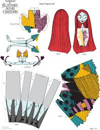 printable halloween crafts sally paper doll printable at spoonful fold here cut there