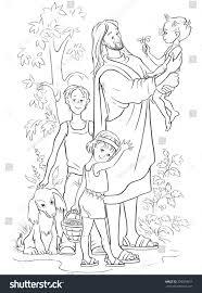jesus children vector christian cartoon black stock vector