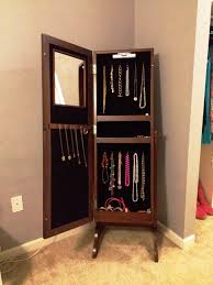 brown jewelry armoire mirrors storage mirror black jewelry armoire stand up jewelry