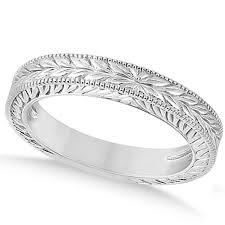 carved wedding bands vintage carved filigree leaf design wedding band 18k white gold