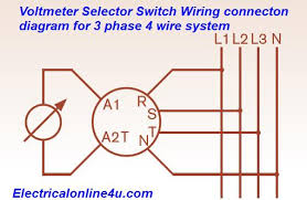 voltmeter selector switch wiring installation for 3 phase 4 wire