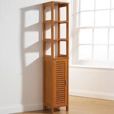 tall bathroom storage cabinet bamboo style floor standing cupboard