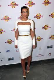 kim kardashian rocking a form fitting long sleeve white dress