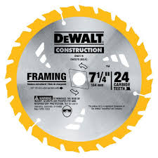 table saw blade width dewalt 7 1 4 in construction 24 teeth thin kerf framing blade