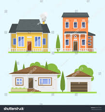 residential home designers cute colorful flat style house village stock vector 606177623