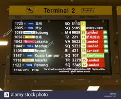 singapore changi airport timetable flight information stock