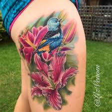 amazing bird and flower tattoo by liz venom from brisbane