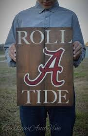 Alabama Football Home Decor Alabama Crimson Tide Football Roll Tide Reclaimed Wood Sign Our