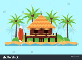 bungalow on sand beach palm trees stock vector 627299378