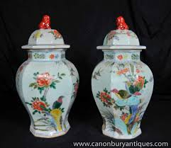 pair chinese ming porcelain ginger jars floral urns vases china