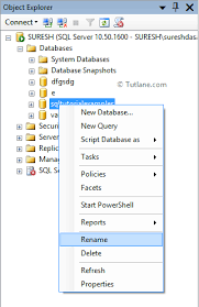 rename table name in sql alter rename sql server database using query or management studio