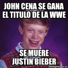 Memes De John Cena - meme bad luck brian john cena se gana el titulo de la wwe se muere