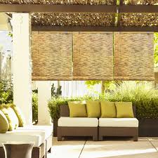 Woven Roman Shades Exterior Brown Bamboo Roll Up Window Blind Hanging On Wooden Deck