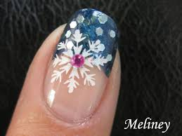 winter nail art tutorial snowflake blue snow sprinkle konad