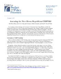 assessing the new house republican chip bill center on budget