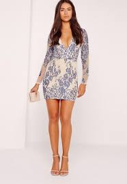 blue bodycon dress sleeve plunge lace bodycon dress blue missguided