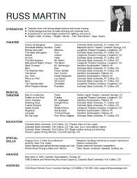 Musical Theater Resume Sample by Theatre Technician Cover Letter