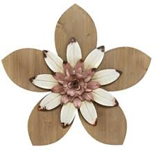 pink and white rustic wooden flower wall plaque wooden flowers
