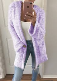 light pink cardigan sweater light purple pockets hooded long sleeve casual cardigan sweater