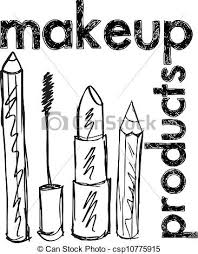 vector clip art of sketch of makeup products vector illustration
