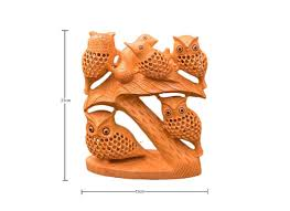 carved wooden owl home décor showpiece