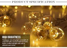 led globe copper wire string lights 25 units g45 bulbs warm white