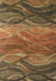 abstract waves contemporary rug desert rust and green