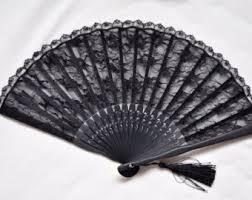 black lace fan black lace fan etsy