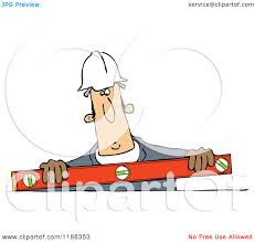 cartoon of a construction worker holding a box beam level