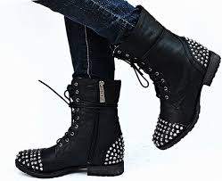 womens black combat boots size 11 studded boots for 2017 designer collection