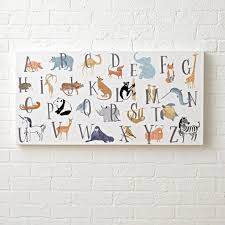 animal alphabet wall art for a nursery the land of nod