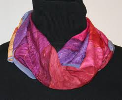 hues of purple unique hand painted silk scarves and shawls featuring stripes and