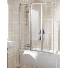premier 1435mm square bath screen with rail and fixed panel lakes classic silver 1390mm framed 3 panel bath screen