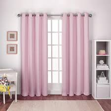 Pink And Purple Curtains Textured Woven Gum Pink Blackout Grommet Top Window Curtain