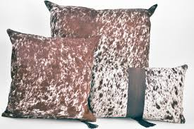 Metallic Cowhide Pillow Brown And White Salt U0026 Pepper Cowhide Pillow Hugo Hides