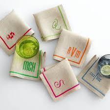 linen satin stitch cocktail napkins and graham