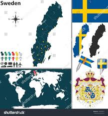 World Map Sweden by Vector Map Sweden Regions Coat Arms Stock Vector 193894667