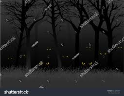 scary eyes staring lurking dark woods stock vector 217212037