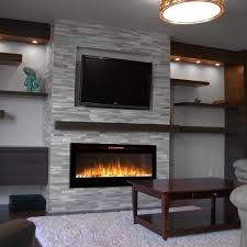 stone electric fireplaces with wall mount tv and white pebble