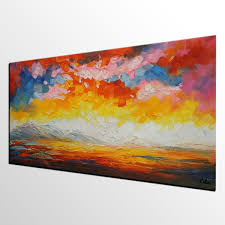 canvas art abstract art sunrise landscape painting large