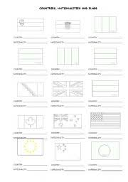 esl kids worksheets flags countries and nationalities