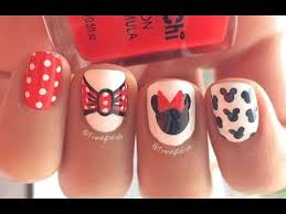 disney minnie mouse inspired nail art youtube