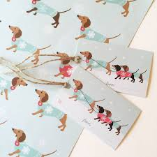 dachshund christmas wrapping paper by sirocco design
