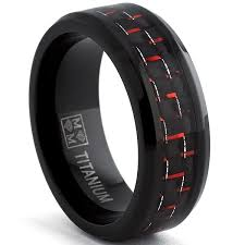 titanium mens wedding bands oliveti blackplated titanium men s black and carbon fiber