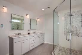 narrow depth double vanity transitional bathroom inside vanities