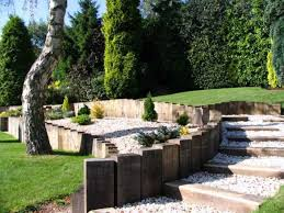 Curved Garden Wall by Garden With Rocks And Curved Railroad Ties Outside Landscaping