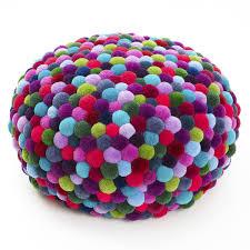original design pouf merino wool round living room pompon