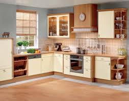 baffling l shape brown color wooden kitchen cabinets featuring