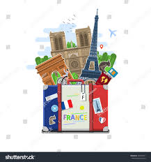 concept travel france studying french french stock vector