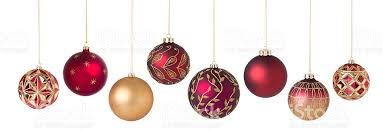 christmas ornaments christmas ornaments gold in a row isolated on white stock